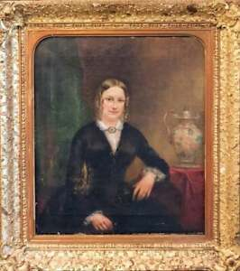 Antique Painting Oil Portrait of a Lady 19th C. English School Handsome Art $1038.23