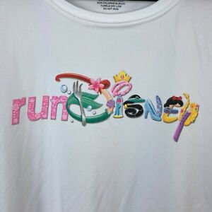 Run Disney White Moisture Wick Princess Characters Spell Out Shirt XL NEW FLAW A $23.38
