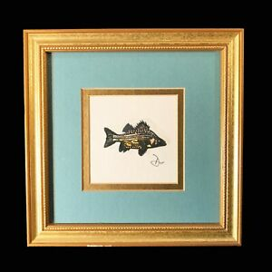 Fish Original Etching signed by artist Framed amp; Matted $65.00