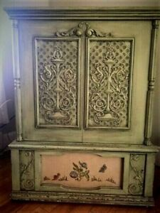 Hutch - Cabinet- Server  Antiqued painted - Solid great condition.
