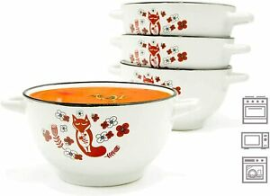 20-ounce Footed Ceramic White Soup Cereal Bowls with Handles - Set of 4