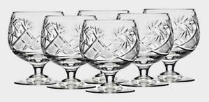 6 European Crystal Old Fashined Snifter Cognac, Whiskey Glasses. 10oz (300 ml)