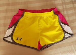 Girl's Youth Under Armour Shorts Size Medium Pink Yellow White $7.99