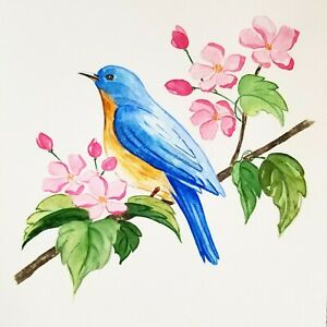 ORIGINAL WATERCOLOR PAINTING BLUE BIRD AND PINK FLOWERS ART DRAWING $20.99