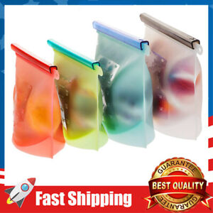 4-Pack Reusable Zip lock Silicone Food Storage Bags Set,Washable Lunch Baggies