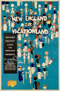New England Vacation Land vintage travel poster 24x36 $9.95