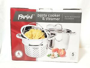 Parini Pasta Cooker & Steamer With Integrated Colander 4 Piece 5 Qt OPEN BOX NEW