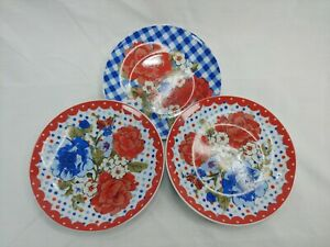 The Pioneer Woman Ceramic Plate Decor Lot Of 3 Red Lace And Blue Bingham
