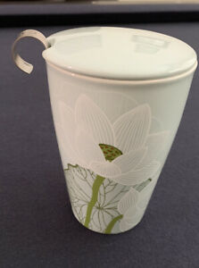 Tea Forte Kati Ceramic Steeping Cup With Lid and Infuser - Lotus Pattern