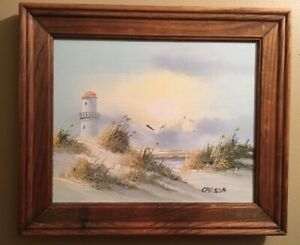 Seascape Original Painting by Carson of Lighthouse Sea Grass Dunes $13.99
