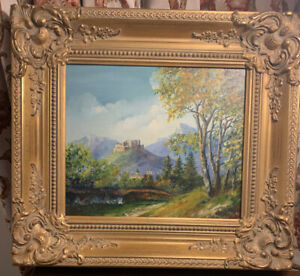 Listed Artist GA Mossa Signed Original Painting French Countryside 1946 $235.00
