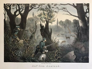 Deer Hunting  Antique Hand Colored Lithograph medium Folio Ca 1860 Berlin $75.00
