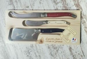 Laguiole Cheese Knives with Red/White/Blue Handles Three-Piece Set