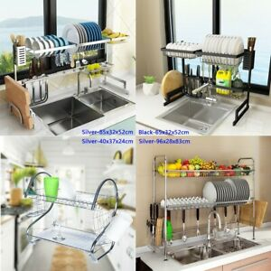 Stainless Steel Over Sink Dish Drying Rack Drainer Kitchen Cutlery Holder Shelf