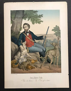 The Hunter's Rest Antique Hand Colored Lithograph medium Folio Ca 1860 Berlin $75.00