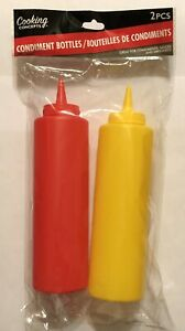 2 Pack 12 Ounce Condiment Squeeze Bottles Ketchup And Mustard Dispensers New