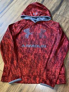 UNDER ARMOUR Cold Gear BOYS PULLOVER HOODIE YLG L Red Lava Camo Gray UA Logo $8.50