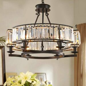 Modern Round Island Crystal Chandelier 6 Lights Flush Mount Ceiling Fixture
