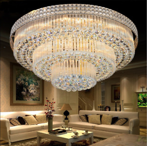 Modern K9 Crystal Chandelier Flush Mount LED Ceiling Light Fixture Pendant Lamp