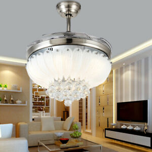Modern Retractable LED Chandelier Crystal Ceiling fan with Remote and Light