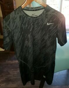 NIKE Pro Combat Dri Fit Men's Fitted Compression Top Black Gray Shirt Size XL $9.99