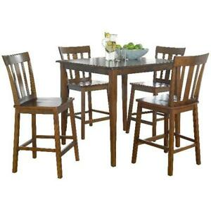 5 Piece Counter Height Table Chairs Dining Set Kitchen Pub Breakfast Stylish NEW $297.36