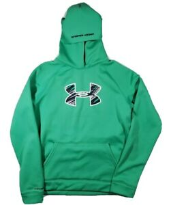 Youth Boys UNDER ARMOUR Fleece Storm Loose bright green Logo Pullover Hoodie XL $20.00