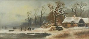 Antique Painting Winter Landscape American School 19th C.1800s Handsome $908.45