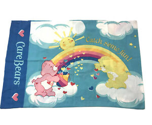 Vintage Care Bears Pillow Case Rainbow Trail Clouds Double Sided Catch Some Fun $12.00