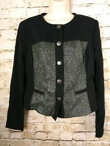 Cabi M Blazer Jacket Tweed Style 3036 Stretch Mixed Media Snap Front