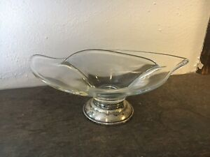 Vintage Divided Double Sided Candy Nut Relish Olive Glass Dish Bowl