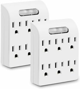 Pack of 2 Wall Plug Adapter with Sensor Night Indicator Light 6 Outlets