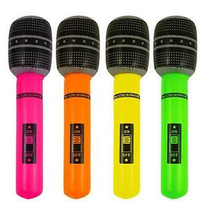 1 x Inflatable microphone blow up neon fancy dress hen night party accessory