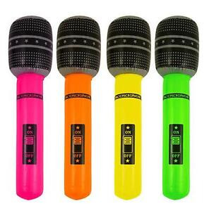 2 x Inflatable microphone blow up neon fancy dress hen night party accessory