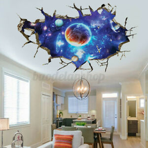 3D Outer Space Galaxy Wall Sticker Planet Mural Removable Wall Decal Art Decor