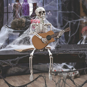 Guitar Playing Skeleton Halloween Decoration Home Decor 1 Piece