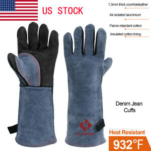 Welding Gloves Heat Fire Resistant Grill Leather Work Glove BBQ Oven Blacksmith $13.50