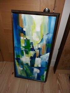 Irma Wallem abstract oil on canvas original painting mid century modern art mcm $500.00