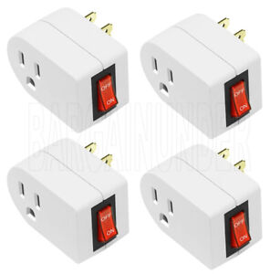 3 Prong Grounded Single Port Power Adapter For Outlet With On Off Switch 1 2 3 4 $15.98