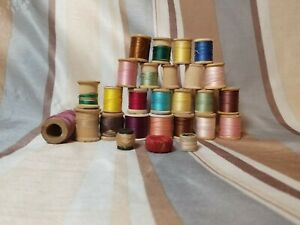 Lot of 23 Vintage Thread Spools Coats amp; Clark#x27;s star. Assorted I1 $14.77