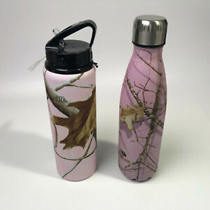 Pink RealTree amp; Mossey Oak Camo Tumbler Bottle good condition FREE SHIPPING
