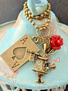 Bronze Painting the Roses Red Necklace. Alice In Wonderland. Ace of Spades. $7.99