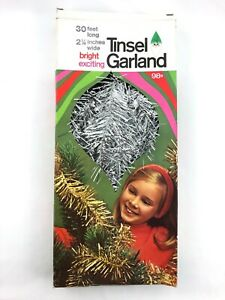 Vintage Tinsel Garland Silver Box Double Glo Holiday Decorations 1968 Tree Hang