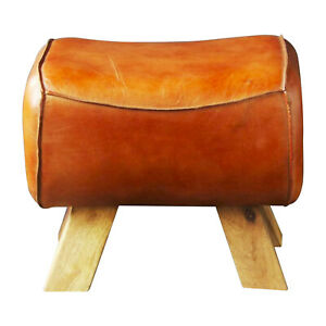 Wooden Leather Foot Stool Goat Tan Leather Premium Quality Pommel Low Horse
