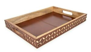 Wooden Leather Serving Tray With Handles Genuine Goat Leather Platter Tray