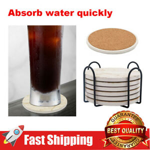 6 Pcs Set Round Drink Coasters with Holder Base for Home Kitchen Bar Decoration