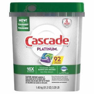 New Cascade Platinum ActionPacs Pods Dishwasher Detergent 92 Count Ships Free $36.99