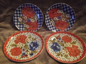 Pioneer Woman Ceramic Plate Decor Red Lace Blue Gingham Set Of 4