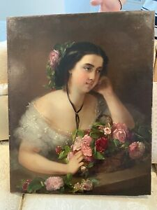 Antique Victorian Painting 1800s Woman Bouquet Flowers Signed Artist Rare $4500.00