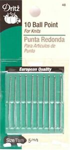 Dritz Ball Point Hand Sewing Needles Size 5 10 10 Needles In Pack PART# D48A $6.99